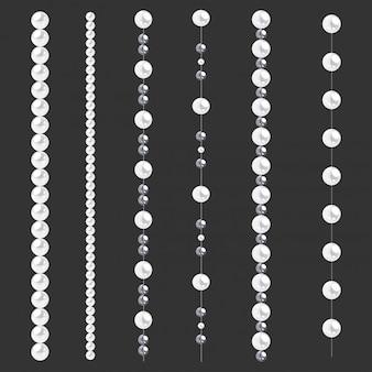 Conjunto de bordas de pérola isolado em cinza