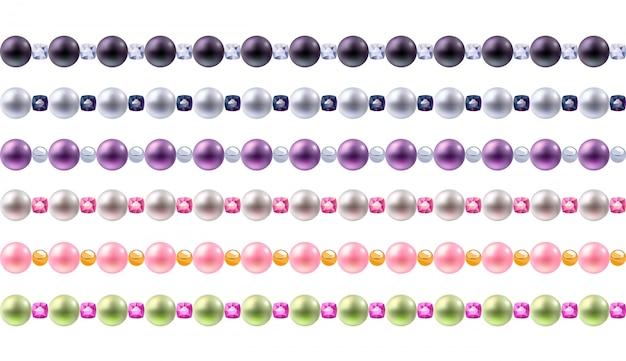 Conjunto de bordas de pérolas e pedras preciosas coloridas. fronteiras horizontais sem costura para.