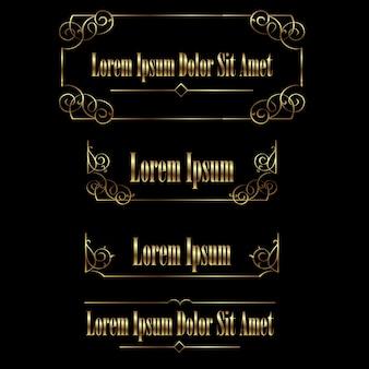 Conjunto de bordas de quadros caligráficos vintage dourado