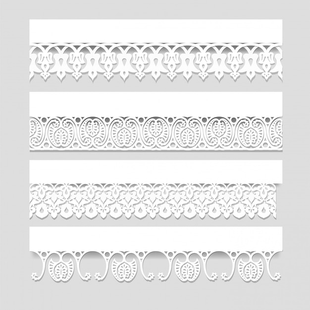 Conjunto de bordas de renda branca sem costura com sombras, linhas de papel ornamentais, vetor eps10