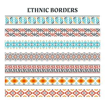 Conjunto de bordas de tiras de elemento étnico, motivos de tiras étnicas, bordas étnicas feitas à mão com listras