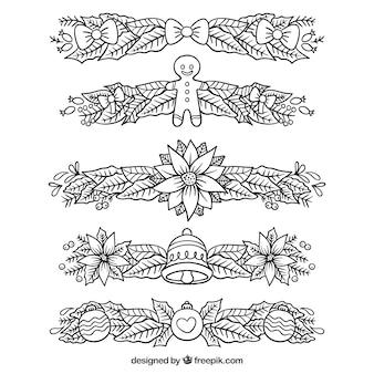 Conjunto de bordas decorativas de natal desenhadas à mão