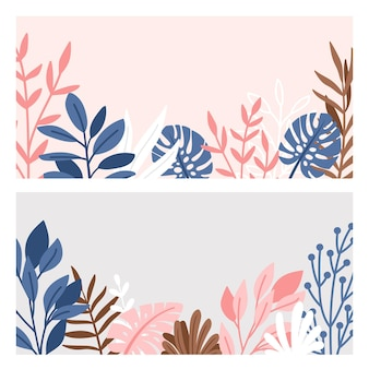 Conjunto de bordas decorativas de ramos e folhas.