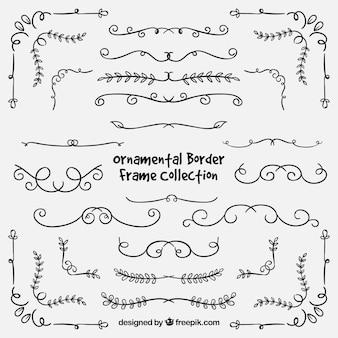 Conjunto de bordas desenhadas a mão ornamental