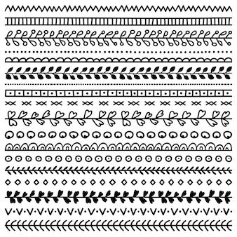 Conjunto de bordas desenhadas à mão para diário, caderno, diário e planejador
