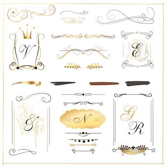Conjunto de bordas desenhadas à mão redemoinhos exclusivos bordas de tinta divisórias de estilo vintage redemoinhos pergaminhos