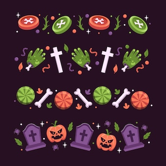 Conjunto de bordas do festival de halloween