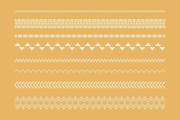 Conjunto de bordas étnicas boho decorativas