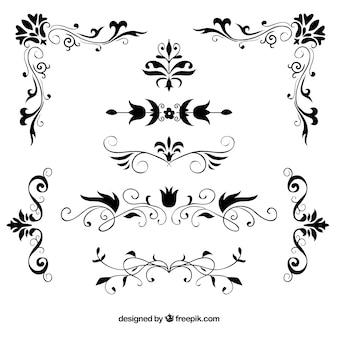 Conjunto de bordas florais decorativas desenhadas à mão