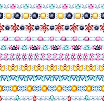 Conjunto de bordas horizontais sem costura de gemas coloridas. estilo étnico indiano. colar de corrente com pulseira.