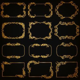 Conjunto de bordas ornamentais decorativas de ouro e moldura