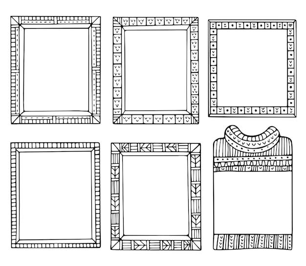 Conjunto de bordas pretas de doodle para diário de diário de bala