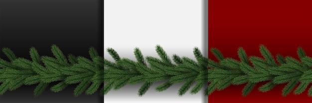 Conjunto de bordas sem costura fir tree branch para estampas têxteis