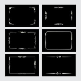 Conjunto de bordas vintage prata em fundos pretos, elementos retrô.