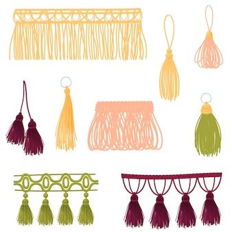 Conjunto de borlas decorativas de diferentes cores e formas. ilustração em fundo branco.