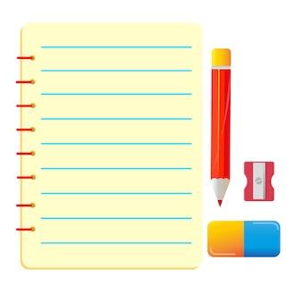 Conjunto de borracha caneta caderno