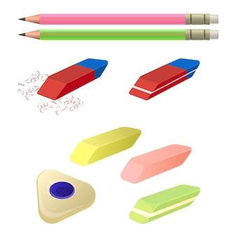 Conjunto de borrachas de diferentes cores e formas com dois lápis