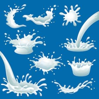 Conjunto de borrões e respingos de leite de desenho animado