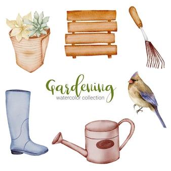 Conjunto de bota, bandeira de madeira, pássaro e regador de objetos de jardinagem em estilo aquarela sobre o tema jardim.