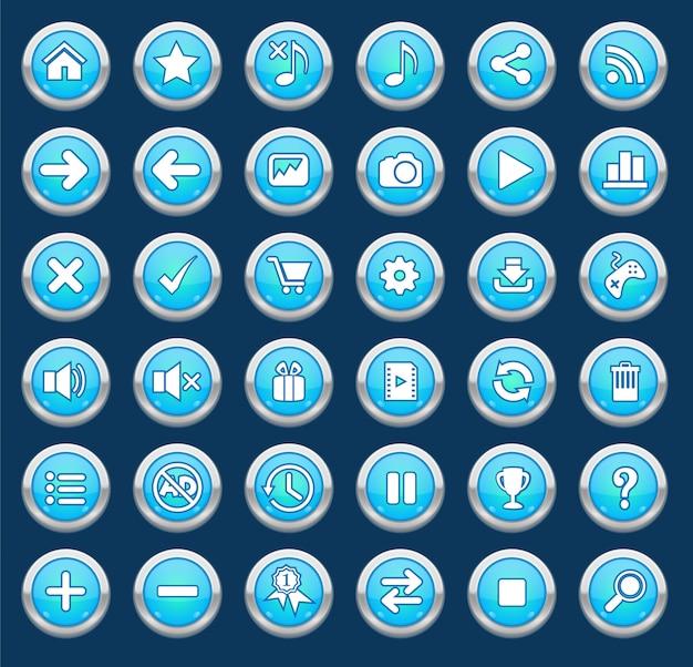 Conjunto de botão azul