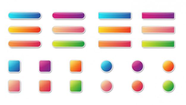 Conjunto de botão brilhante brilhante colorido. ícones isolados.