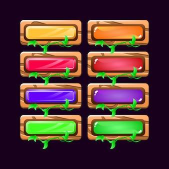 Conjunto de botão colorido da natureza de madeira da interface do usuário do jogo para elementos de recursos de interface do usuário