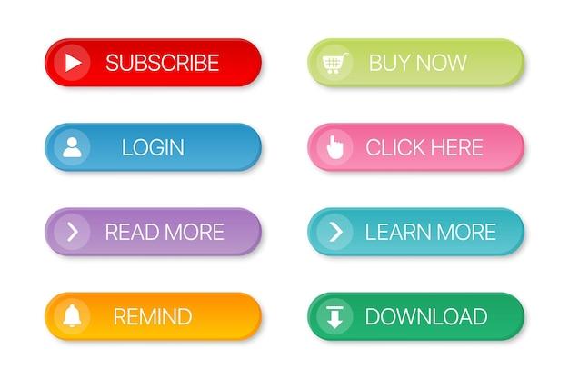 Conjunto de botão colorido da web com sombra