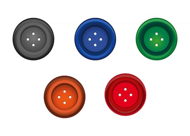 Conjunto de botão de costura multicolorido para roupas. ícone do parafuso prisioneiro.