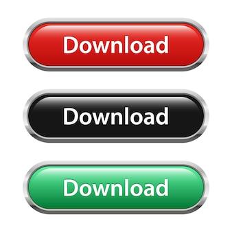 Conjunto de botão de download isolado no branco