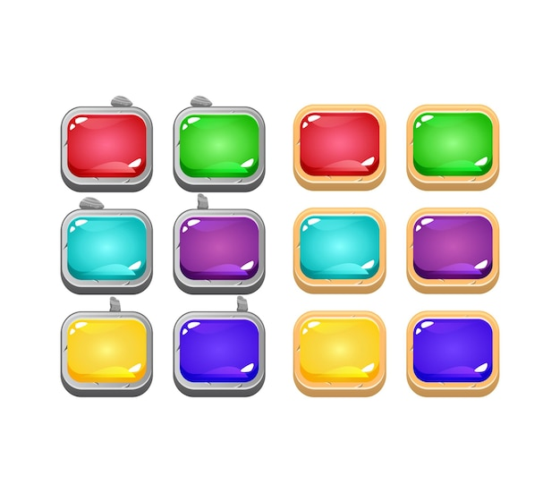 Conjunto de botão de gelatina colorida gui com pedra e borda de madeira