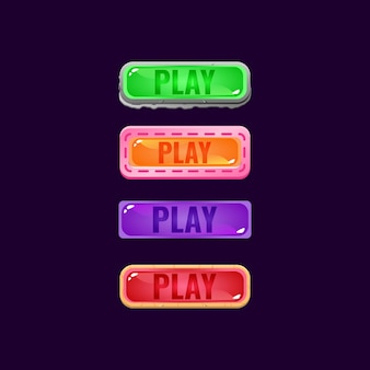 Conjunto de botão de geléia colorida da interface do usuário do jogo com pedra e borda casual para elementos de recursos de interface