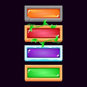 Conjunto de botão de geléia colorida da interface do usuário do jogo com pedra, gelo, madeira, borda, folhas de madeira, para elementos de recursos de interface do usuário