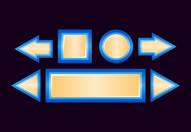 Conjunto de botão de interface do usuário de jogo de fantasia brilhante