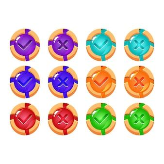 Conjunto de botão de interface do usuário do jogo de gelatina de madeira quebrada sim e sem marcas de seleção