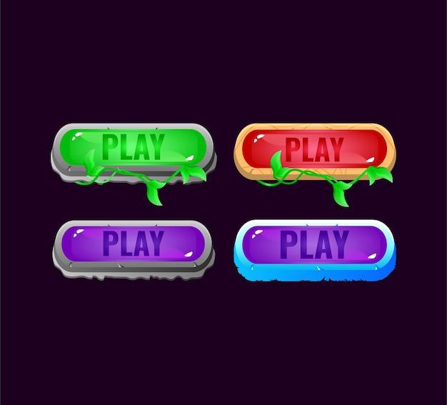 Conjunto de botão de jogo colorido do ui jelly