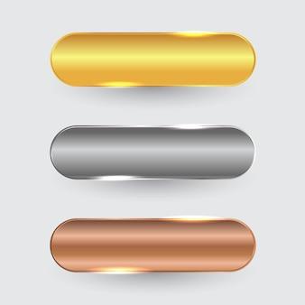Conjunto de botão de luxo em design ouro, prata e bronze