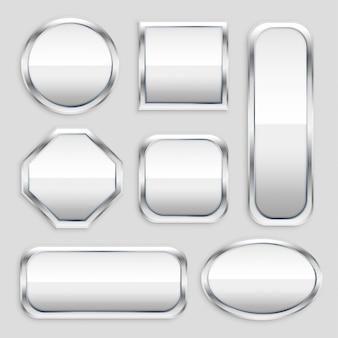 Conjunto de botão de metal brilhante em diferentes formas