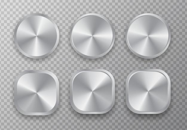 Conjunto de botão de metal de alumínio.