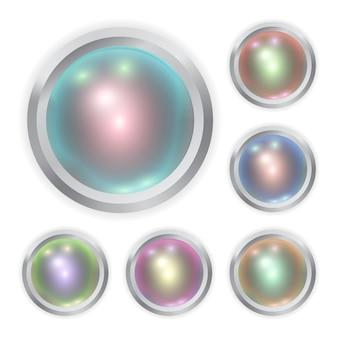 Conjunto de botão de metal de cor realista com mancha de luz
