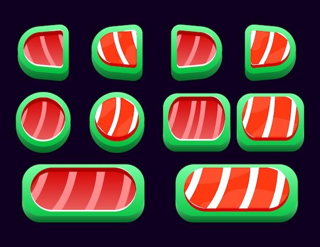 Conjunto de botão de natal de fantasia para elementos de recursos de interface do usuário