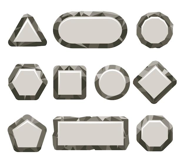 Conjunto de botão de pedra cinza jogo indie