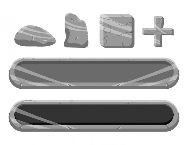 Conjunto de botão de rock da interface do usuário do jogo e elementos de ícone
