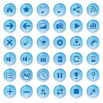 Conjunto de botão de vidro para design