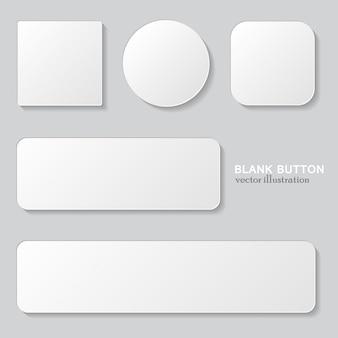 Conjunto de botão em branco branco. botões arredondados, quadrados e arredondados