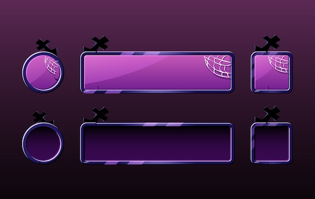 Conjunto de botão hallowen para elementos de recursos de interface do usuário do jogo