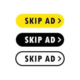 Conjunto de botão para pular anúncio. pare de propaganda. botão pular ou parar anúncio.