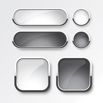Conjunto de botão preto e branco o design do moderno em fundo branco