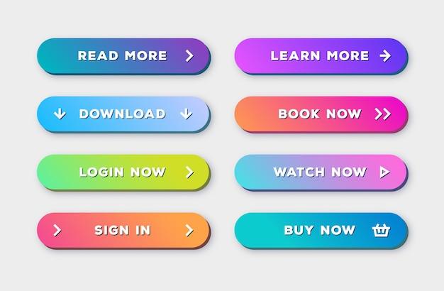 Conjunto de botões 3d moderno arrojado moderno estilo gradiente com sombra