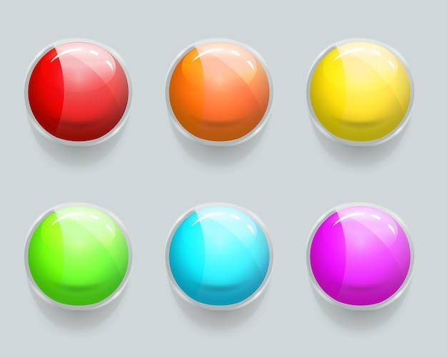 Conjunto de botões brilhantes da web