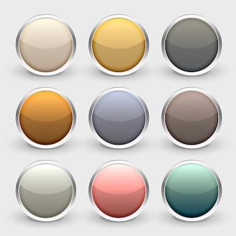 Conjunto de botões brilhantes metálico brilhante